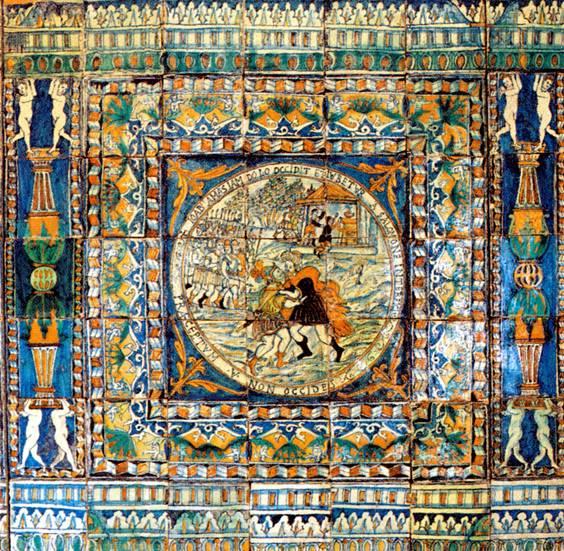 italienische fliesen von urspra 1 4 nglich 376 sind noch 301 erhalten als die kapelle 1952 abgebrochen wurde kam der lambris mit sieben szenen aus dem alten badezi